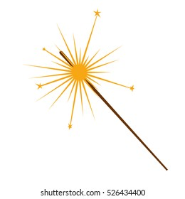 Sparkler vector illustration isolated on white background. pyrotechnics for the holidays. candles for the celebration of Christmas, new year, birthday