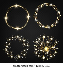 Sparklers from burning sparkler, pyrotechnics effects, magical lights moving in circle realistic vector set isolated on transparent background. Holiday party celebration fireworks elements collection