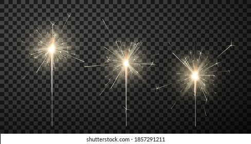 Sparklers with sticks of different lengths realistic set. Bengal festive lights collection. Blue holiday flare. Christmas magic decoration. Vector sparklers isolated on transparent background.