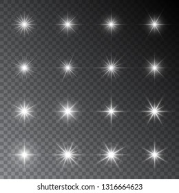 Sparkles. Glowing light effects. Sparkling and shining stars, bright flashes of lights with a radiating. Transparent vector elements