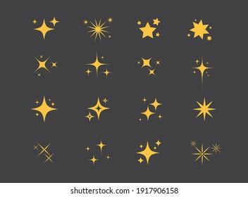 Sparkles Stars on black background. Set of twinkling stars. Stars light effect. Vector illustration