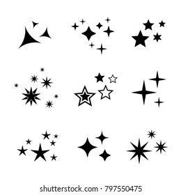 Sparkles symbols collection. Holiday firework icons.