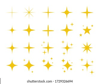 Sparkles symbols vector set in yellow color. Vector stars sparkle icon. Bright firework, decoration twinkle, shiny flash. Glowing light effect stars and bursts collection. Vector