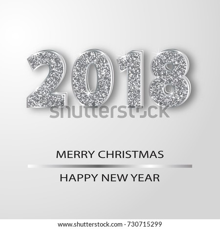 Sparkling 2018 numerals greeting card vector illustration. Silver shining numbers. Xmas and new year background