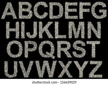 Sparkling alphabet made of shining stars , letters from a to z, vector illustration