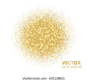 Sparkling background, golden glitter explosion. Vector dust on white. Great for valentine, christmas and birthday cards, wedding invitations, party posters.