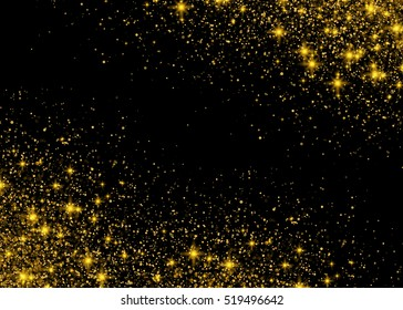 Sparkling background luminous gold Stars Star dust sparks in explosion on black background. Glitter particles effect. Vector Illustration