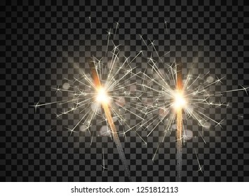 Sparkling bengal lights isolated on transparent backdrop for festive, Christmas and New Year decoration. Vector background.