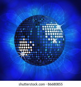 sparkling blue disco ball on a blue starburst background