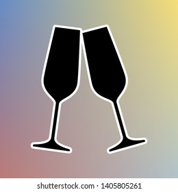Sparkling champagne glasses. Black icon in white shell at pastel color background. Illustration.