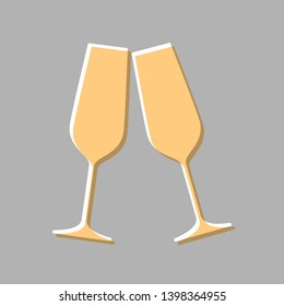 Sparkling champagne glasses. Emboss effect with light orange icon on gray background.