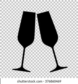 Sparkling champagne glasses. Flat style icon on transparent background