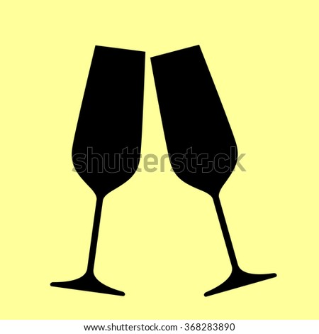 675fed2cb5 Sparkling Champagne Glasses Flat Style Icon Stock Vector (Royalty ...