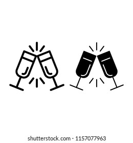 Sparkling champagne glasses line and glyph icon. Two clinking glasses vector illustration isolated on white. Toast outline style design, designed for web and app. Eps 10.