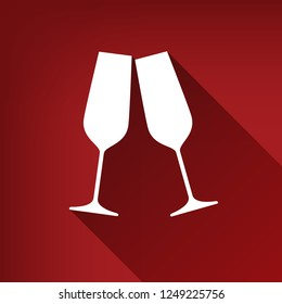 Sparkling champagne glasses. Vector. White icon with limitless shadow at ruby red background.