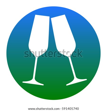 3393868ddb Sparkling champagne glasses. Vector. White icon in bluish circle on white  background. Isolated