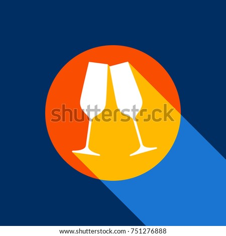 08c895c517 Sparkling champagne glasses. Vector. White icon on tangelo circle with  infinite shadow of light at cool black background. Selective yellow and  bright navy ...