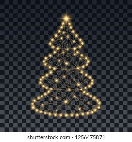 Sparkling Christmas tree. Vector illustration.