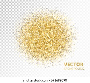 Sparkling circle, golden glitter explosion. Vector dust on transparent background. Great for valentine, christmas and birthday cards, wedding invitations, party posters.