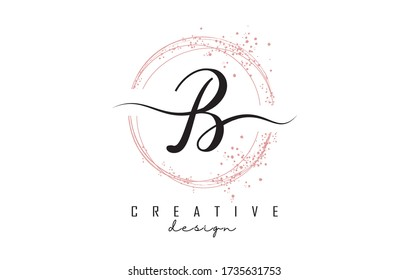 Sparkling circles and dust pink glitter frame for handwritten B letter logo. Shiny rounded vector illustration with B letter.