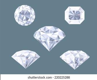 Sparkling Diamond Shaped Jewelry Shiny Crystal Precious Gem Jewel Set vector illustration.