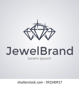 Sparkling diamonds icon. Logo template. Vector illustration.