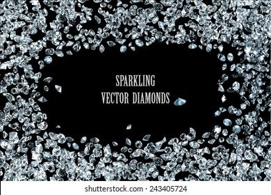 sparkling diamonds on black background vector collection