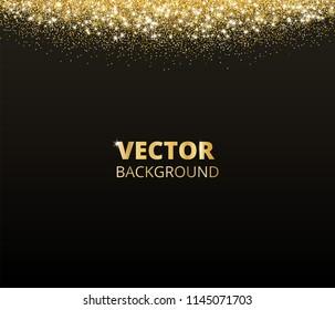 sparkling glitter border frame falling golden dust on black background vector gold glittering