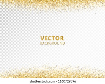Sparkling glitter border, frame. Falling golden dust isolated on transparent background. Vector gold decoration. For wedding invitations, party posters, Christmas, New Year and birthday cards.