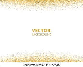 Sparkling glitter border, frame. Falling golden dust isolated on white background. Vector gold glittering decoration. For wedding invitations, party posters, Christmas, New Year and birthday cards.