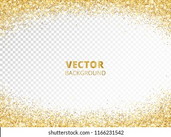 Sparkling glitter border, frame. Falling golden dust isolated on transparent. Vector gold arch decoration. For wedding invitations, party posters, Christmas, New Year and birthday cards.