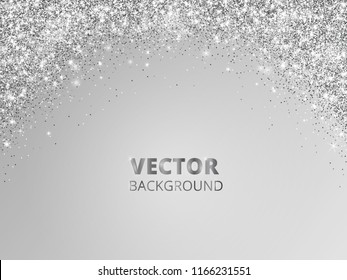 Sparkling glitter border, frame. Falling silver dust on gray background. Vector arch glittering decoration. For wedding invitations, party posters, Christmas, New Year and birthday cards.