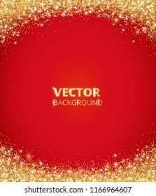 Sparkling glitter border, frame. Falling golden dust on red background. Vector gold arch decoration. For wedding invitations, party posters, Christmas, New Year and birthday cards.