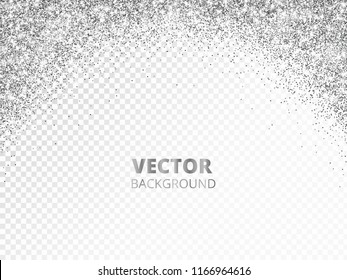 Sparkling glitter border, frame. Falling silver dust isolated on transparent. Vector arch glittering decoration. For wedding invitations, party posters, Christmas, New Year and birthday cards.