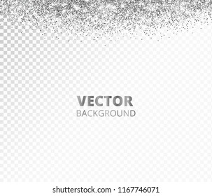 Sparkling glitter border, frame. Falling silver dust isolated on transparent background. Vector glittering decoration. For wedding invitations, party posters, Christmas, New Year and birthday cards.
