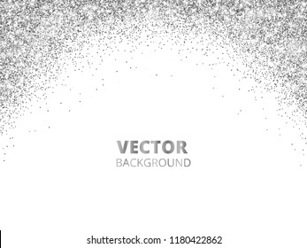 Sparkling glitter border, frame. Falling silver dust isolated on white background. Vector arch glittering decoration. For wedding invitations, party posters, Christmas, New Year and birthday cards.