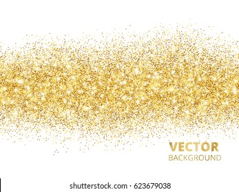 Sparkling glitter border isolated on white. Festive background with golden dust. Golden rectangle of glitter confetti. Great for wedding invitations, party posters, christmas and birthday cards.