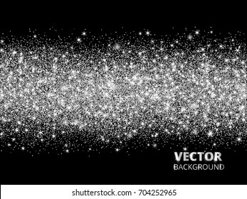 Sparkling glitter border on black background. Silver rectangle of glitter confetti, vector dust. Great for wedding invitations, party posters, christmas and birthday cards.