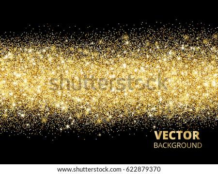 sparkling glitter border on black festive background with golden dust golden rectangle of glitter