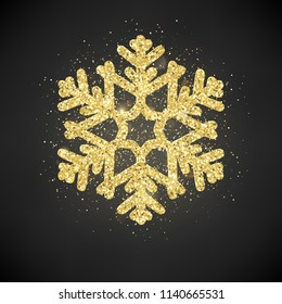 shine golden snowflake glitter sparkle on stock vector royalty free