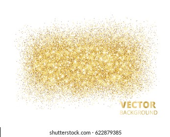 Sparkling glitter texture isolated on white background, vector golden dust. Golden rectangle of glitter confetti. Great for wedding invitations, party posters and flyers, christmas and birthday cards.