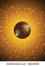 Sparkling gold disco ball background