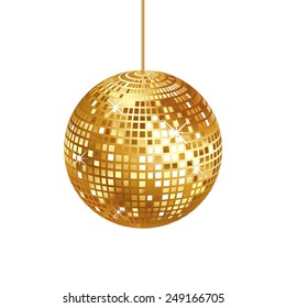 Sparkling gold disco ball isolated on white background, vector illustration