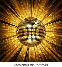 sparkling gold disco ball on satrburst background with grunge detail