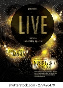 Sparkling gold live music poster template