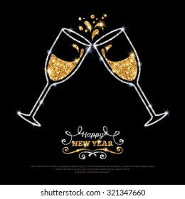 Sparkling gold silver champagne glasses. Vector illustration. Happy New Year Lettering concept. Place for your text message.