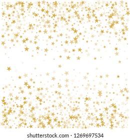 sparkling gold stars background, golden sparkles confetti falling. christmas lights magic shining Flying stars glitter cosmic backdrop, vector border. tinsel elements celebration graphic design.