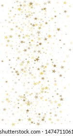 sparkling gold stars background, golden sparkles confetti falling. christmas lights magic shining Flying stars glitter cosmic backdrop, vector border. tinsel elements celebration graphic design.
