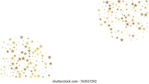 sparkling gold stars background, golden christmas lights confetti falling. magic shining Flying stars on night sky glitter cosmic backdrop, sparkle vector border.
