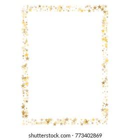 sparkling gold stars frame or border background, christmas lights confetti golden sparkles square. magic shining Flying stars glitter cosmic backdrop, vector border.